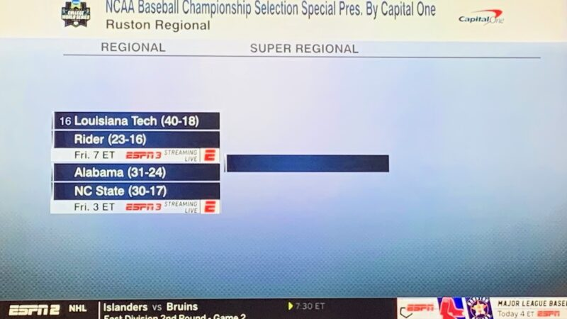 Alabama, One of Last Four In, Playing NC State in Ruston Regional